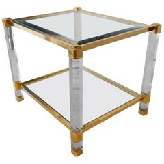 French Plexiglass Brass and Crystal Top Table, 1980s