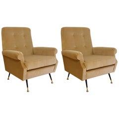 Italian Vintage Beige Velvet Armchairs, 1950