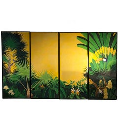 Italian Four Tropical and Colorful Oil on Canvas Panels by Spadacini, 1990s