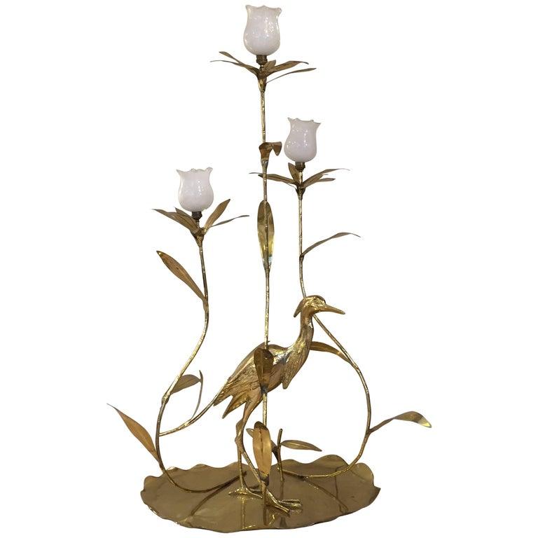 Italian Golden Brass Animal and Floral Floor Lamp for Cittone Oggi, 1960
