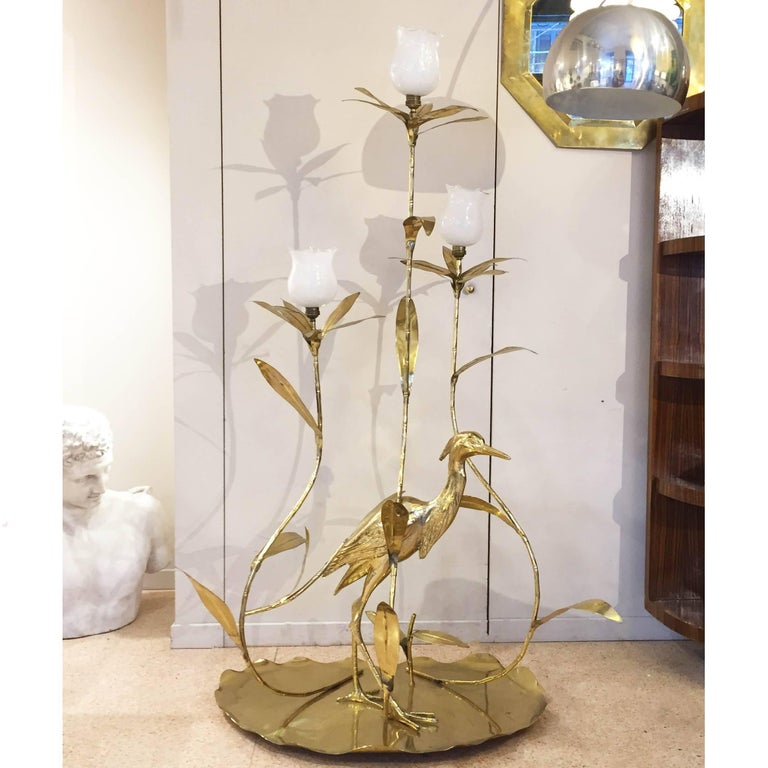 Italian Golden Brass Animal and Floral Floor Lamp for Cittone Oggi, 1960 2