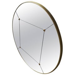 Pescetta Art Deco Customizable Rounded Brass Frame Panelled and Studded Mirror