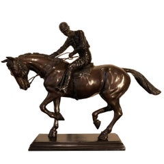 Bronze Jockey on Horse Black Marble Base Attributed to J. Bonheur Sculpture