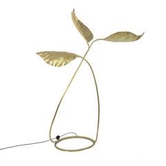 Italian Golden Brass Rhubarb Leaf Floor Lamp, 1970s