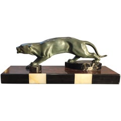 Art Deco Decorative Panther and Black White Marble Base Animal Sculpture, 1930s