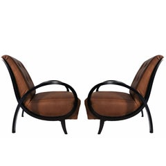Art Deco Black Ebonized Wood and Brown Leather Italian Armchairs, 1930s
