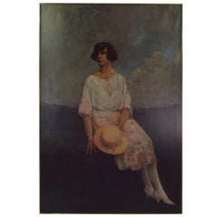 Art Deco Painting Young Woman Portrait Oil on Canvas, Dated 1920