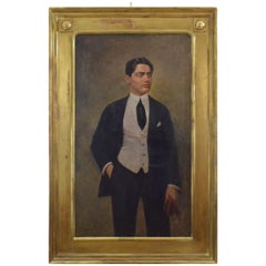 Luigi Anderwill Painting Man Portrait Oil on Canvas Wood Gold Foil Frame, 1910