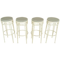 White Iron Grey Waterproof Covers Stools, 1970s France