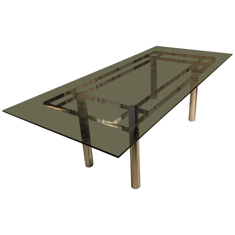 Italian Smoked Glass Steel Structure Table by Tobia Scarpa for Gavina, 1960s For Sale