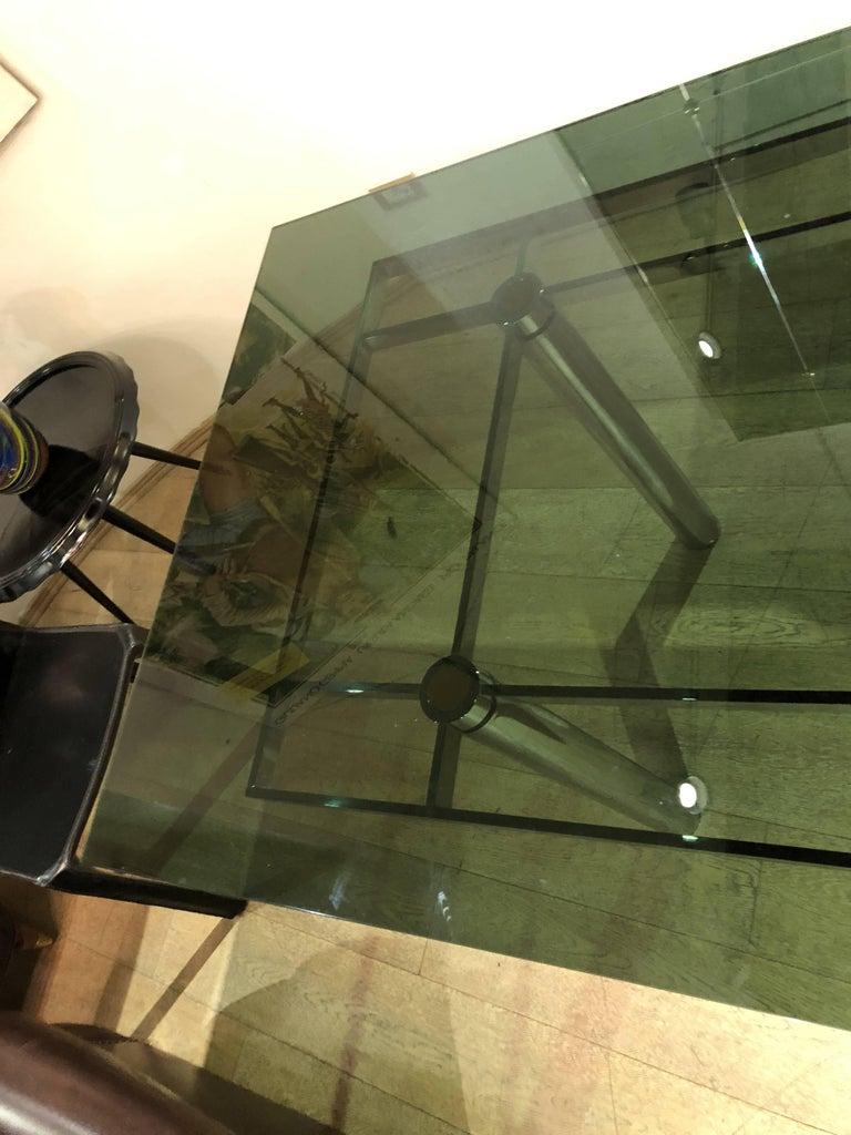 Modern Italian Smoked Glass Steel Structure Table by Tobia Scarpa for Gavina, 1960s For Sale