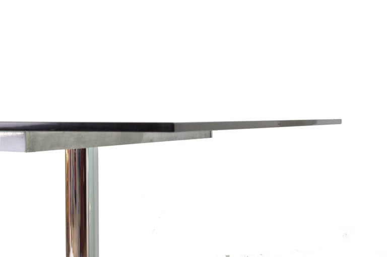 Italian Smoked Glass Steel Structure Table by Tobia Scarpa for Gavina, 1960s For Sale 1