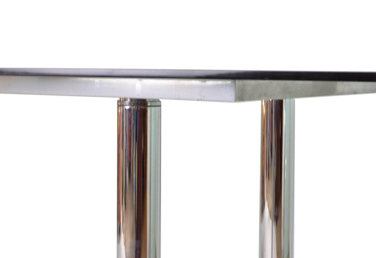 Italian Smoked Glass Steel Structure Table by Tobia Scarpa for Gavina, 1960s For Sale 2