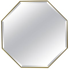 Contemporary Pescetta Art Deco Style Octagonal Brass Frame Beveled Mirror