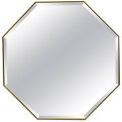 Zeitgenössische Pescetta Art Deco Stil achteckiger Messingrahmen abgeschrägter Spiegel