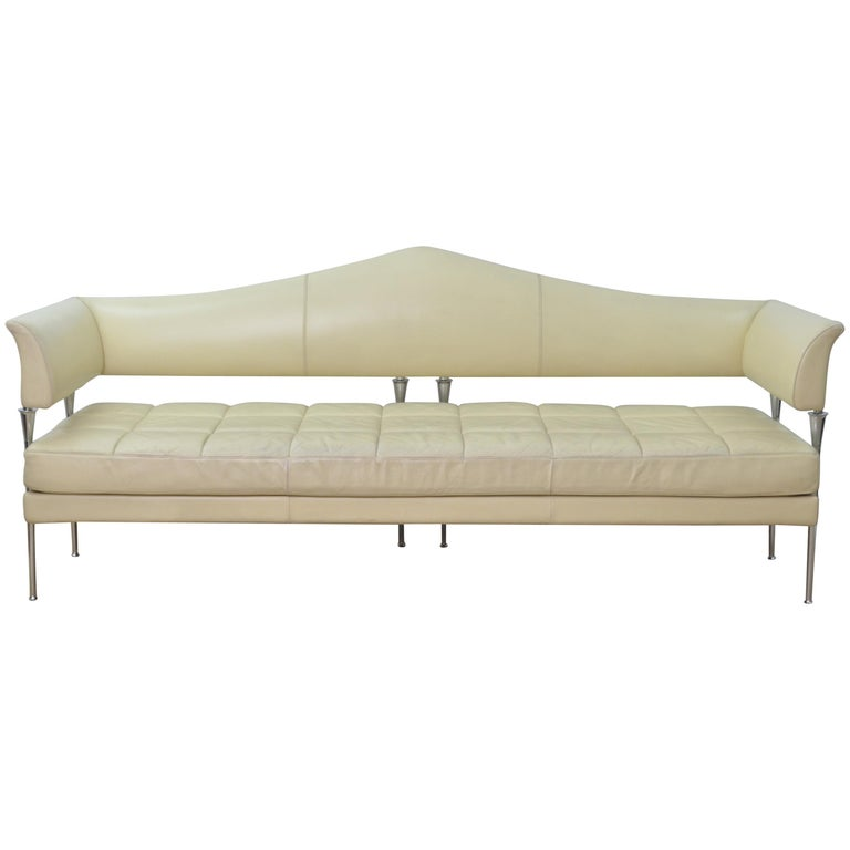 Cream Color Leather and Chromed Steel Sofa Hydra Model, for Poltrona Frau, 1990s For Sale