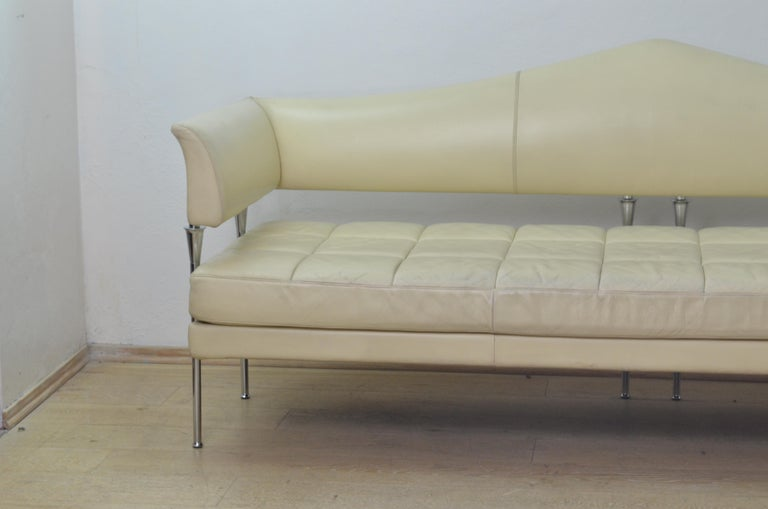 Cream Color Leather and Chromed Steel Sofa Hydra Model, for Poltrona Frau, 1990s 2
