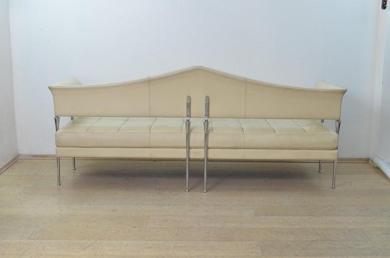 Italian Cream Color Leather and Chromed Steel Sofa Hydra Model, for Poltrona Frau, 1990s For Sale