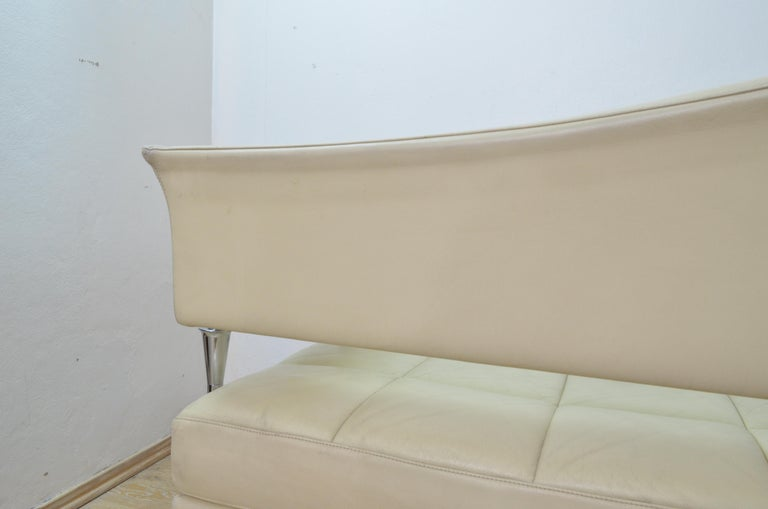 Cream Color Leather and Chromed Steel Sofa Hydra Model, for Poltrona Frau, 1990s 8