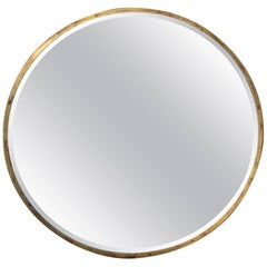 Customizable Round Gold Leaf on Red base Iron Frame Mirror Industrial Style