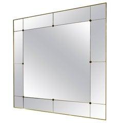 Pescetta Art Deco Style Contemporary Customizable Panelled Mirror Brass Frame