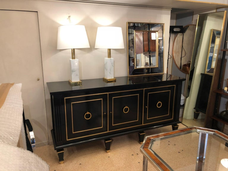 Ebonized Italian Art Deco Black Wood and Golden Bronze Three Doors Credenza, 1940s For Sale