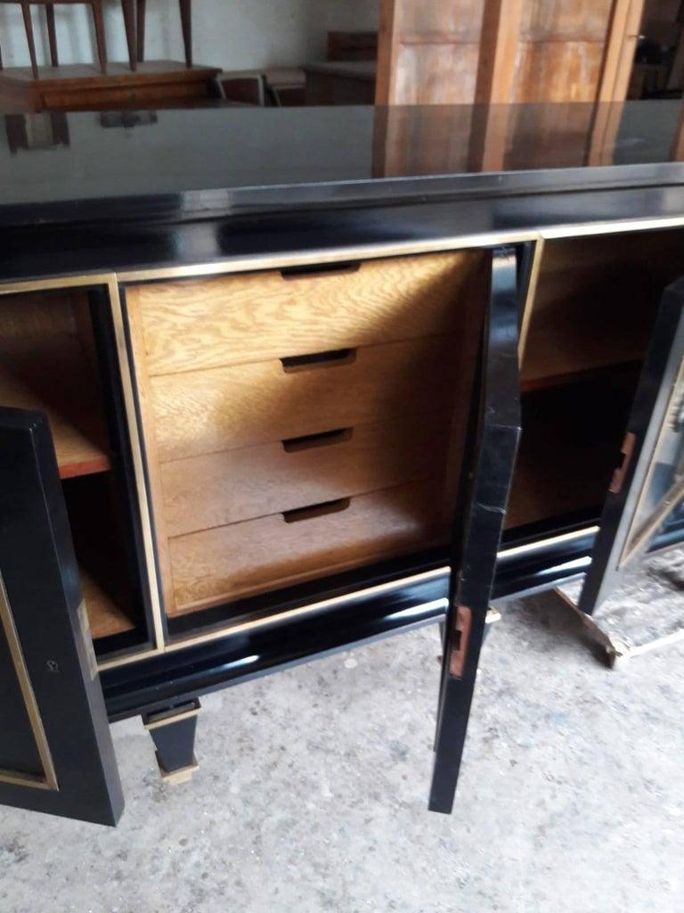 Italian Art Deco Black Wood and Golden Bronze Three Doors Credenza, 1940s For Sale 3