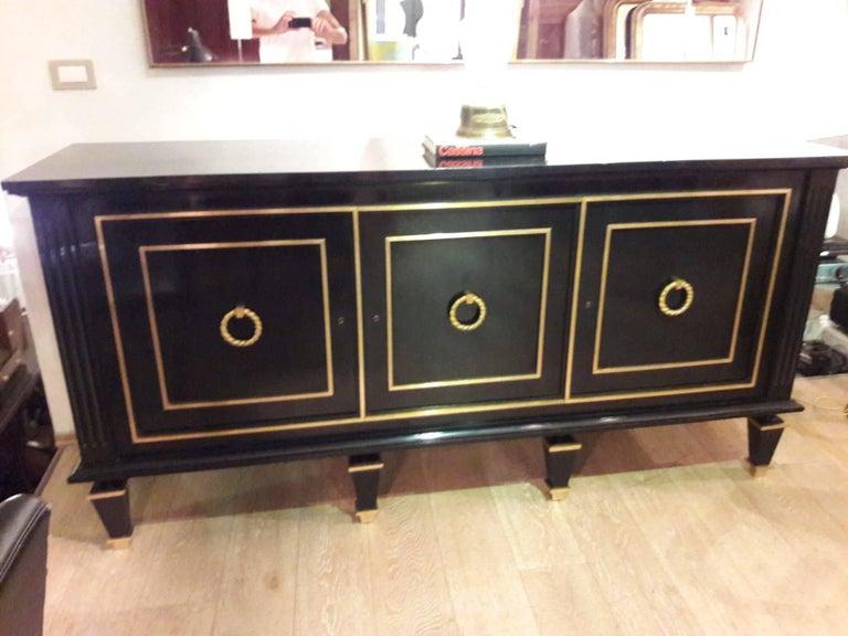 Italian Art Deco Black Wood and Golden Bronze Three Doors Credenza, 1940s For Sale 9