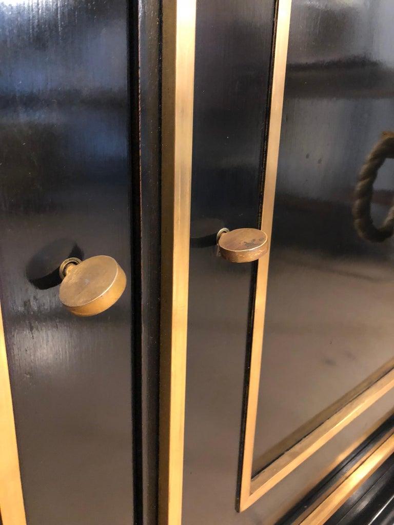 Italian Art Deco Black Wood and Golden Bronze Three Doors Credenza, 1940s For Sale 13