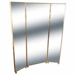 Pescetta Art Deco Style Customizable Mirrored Panels Brass Frames Screen