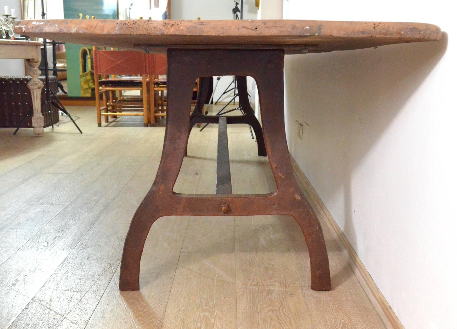 industrial table walnut wood top iron legs for sale at 1stdibs. Black Bedroom Furniture Sets. Home Design Ideas