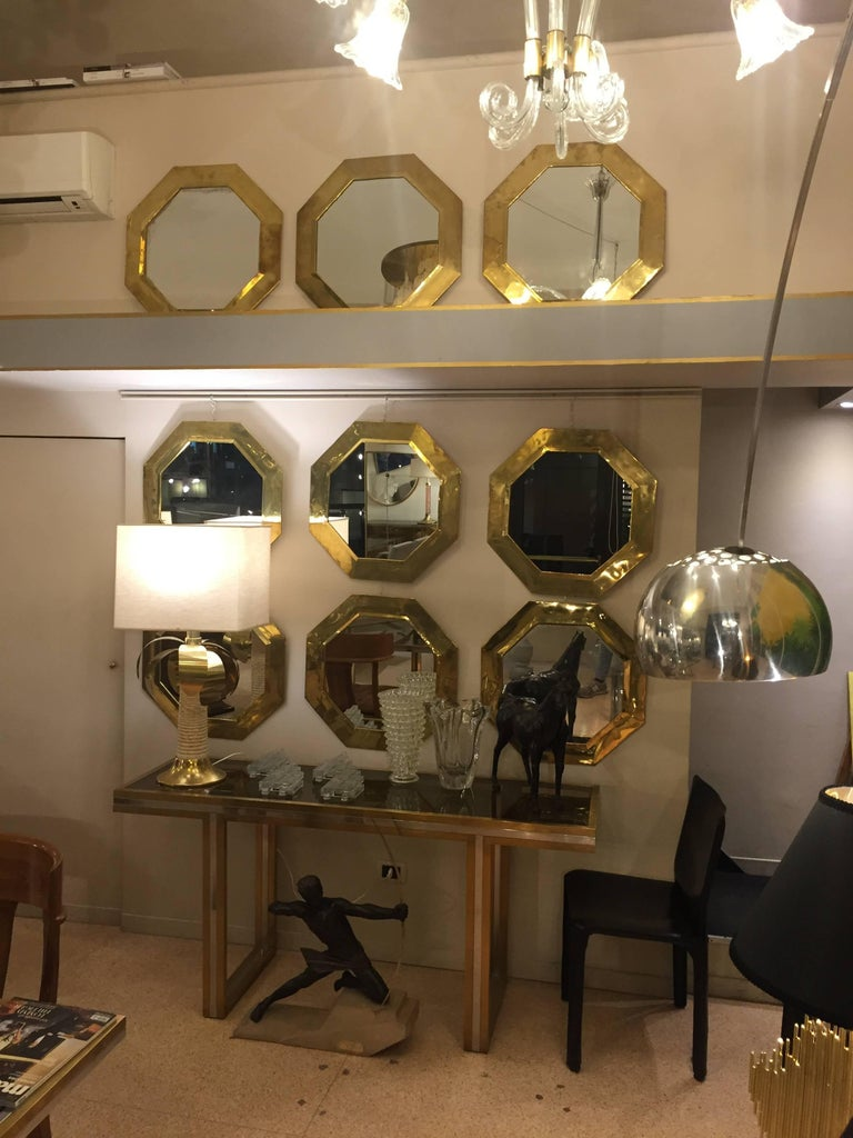 1970s octagonal brass frame mirrors for sale at 1stdibs for Mirror 60cm wide
