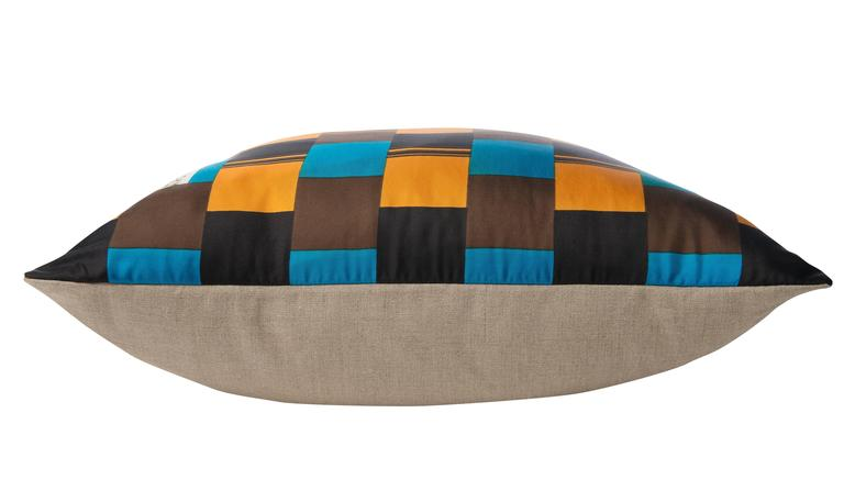 Large, plush custom-made one-of-a-kind luxury cushion (pillow) created from a vintage silk Givenchy fashion scarf in a strong 1960s color palate of mustard yellow, teal blue and brown. In 1968 luxury French brand of haute couture clothing Givenchy