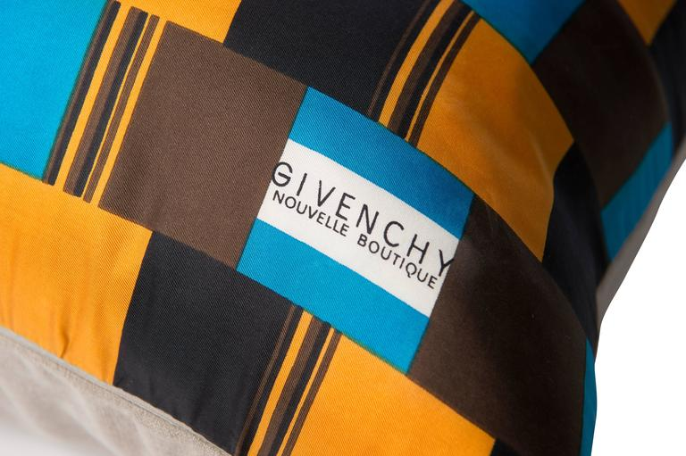 Mid-Century Modern Vintage Givenchy Blue and Orange Silk Scarf with Irish Linen Cushion Pillow For Sale