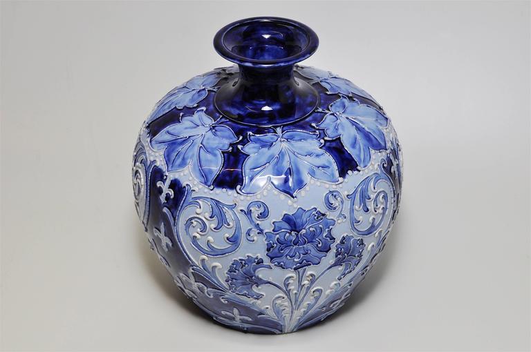 Large Rare Florian Ware Moorcroft Macintyre Blue Vase Pot Art