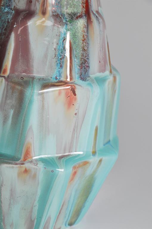 Rare French Art Deco Gabriel Fourmaintraux Desvres Pot Turquoise Ceramic Vase For Sale 3