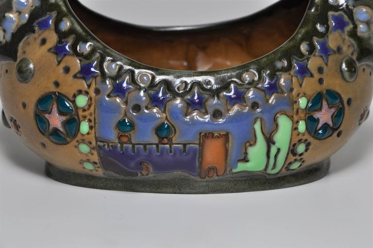 20th Century Rare Riessner and Kessel Amphora Ceramic Art Nouveau Pottery Basket For Sale