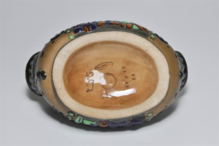 Rare Riessner and Kessel Amphora Ceramic Art Nouveau Pottery Basket For Sale 5