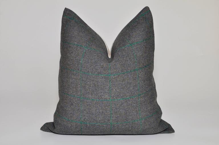 Custom-made luxury cushion (pillow) created from an exquisite tweed in a dark forest green shade with subtle plaid (also known as tartan, checker or checkered) pattern. The beautifully textured high quality heavy weight fabric is from an unused