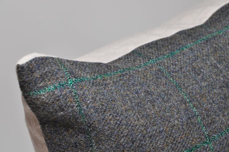 Northern Irish Vintage Green Donegal Plaid Tweed Irish Wool with Irish Linen Cushion Pillow For Sale