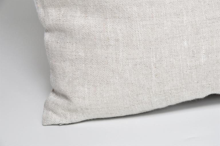 Northern Irish Vintage Navy Blue Orange Donegal Tweed Irish Wool and Irish Linen Cushion Pillow For Sale