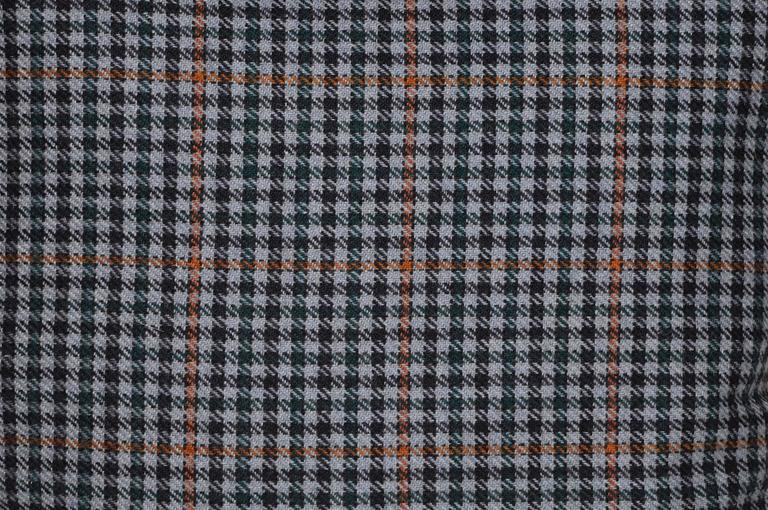 Mid-Century Modern Vintage Navy Blue Orange Donegal Tweed Irish Wool and Irish Linen Cushion Pillow For Sale