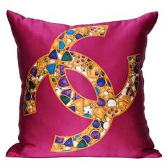 Vintage Chanel Silk Scarf with Jewels and Irish Linen Cushion Pillow