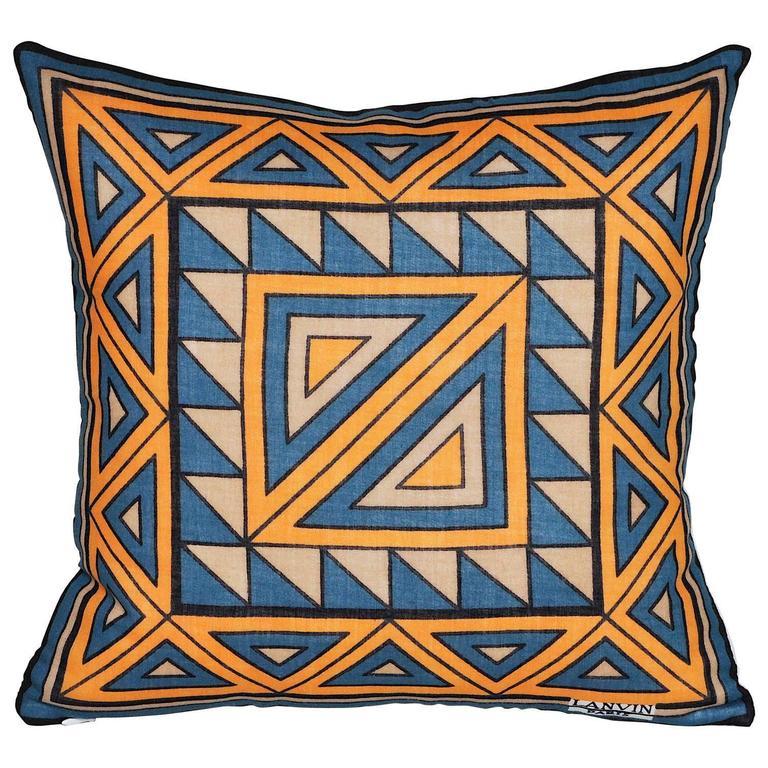 Vintage Lanvin Orange and Blue Geometric Scarf with Irish Linen Cushion Pillow