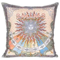 Vintage Hermes Blue Silk Scarf and Irish Linen Cushion Pillow