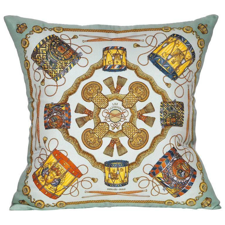 Vintage Hermes Turquoise Silk Scarf and Irish Linen Cushion Pillow