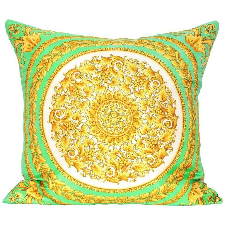 Vintage Versace Green Medusa Silk Scarf and Irish Linen Cushion Pillow