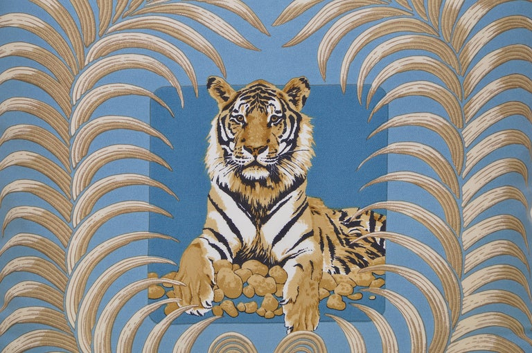 The 'crème de la crème' of scarves, this beauty is a one-of-a-kind custom made luxury cushion (pillow) from an exquisite vintage silk Hermes fashion scarf featuring a seated tiger amongst a luscious wreath.