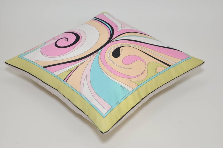 Mid-Century Modern Vintage Pucci Pink Yellow Geometric Scarf and Irish Linen Cushion Pillow For Sale