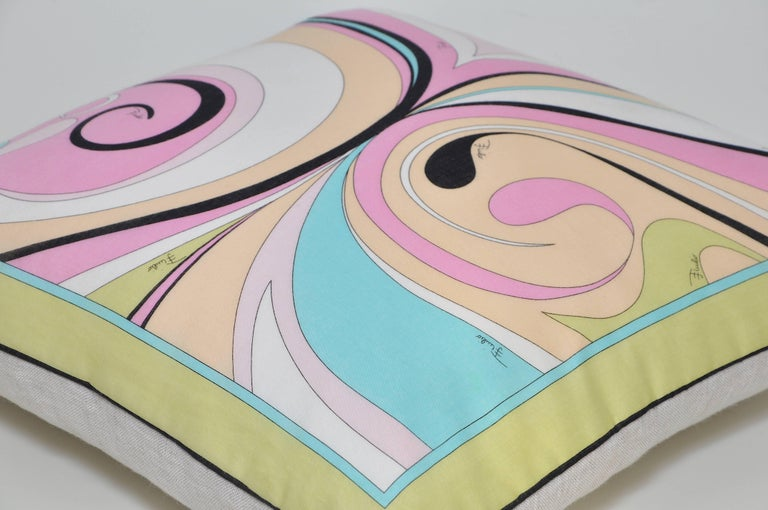 Italian Vintage Pucci Pink Yellow Geometric Scarf and Irish Linen Cushion Pillow For Sale
